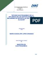Estudio Electroquímico de La Influencia de Los Aditivos Sobre El Mecanismo de Depósito de Zinc en Medio Alcalino.