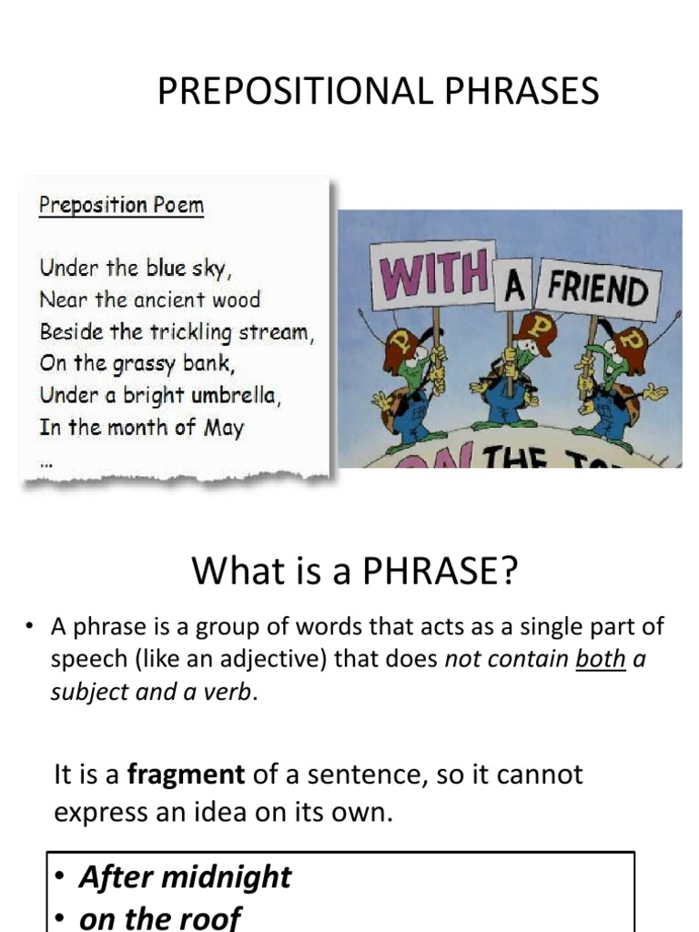 Prepositional Phrases   Preposition And Postposition   Adverb