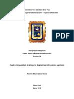 Cuadro Comparativo de Proyectos de Pre Inversion Publica y Privada