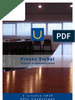 Procès Verbal du Conseil d'administration du 4 Octobre 2010