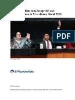 El Fiscoanalista Senado Aprobó Con Modificaciones La Miscelánea Fiscal 2020
