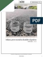 Milano Prove Tecniche Di Asfalto Al Grafene