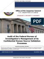 Audit of the Federal Bureau of Investigation's Management of its Confidential Human Source Validation Processes