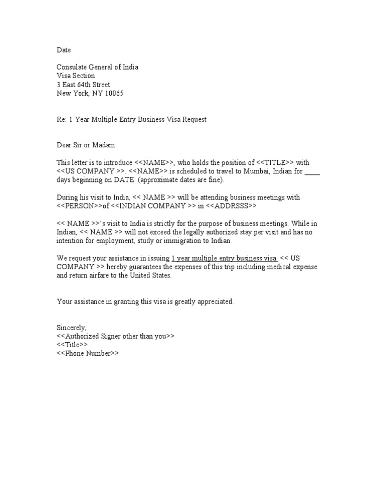 Sample Letter From Uk Employer For Indian Buisiness Visa