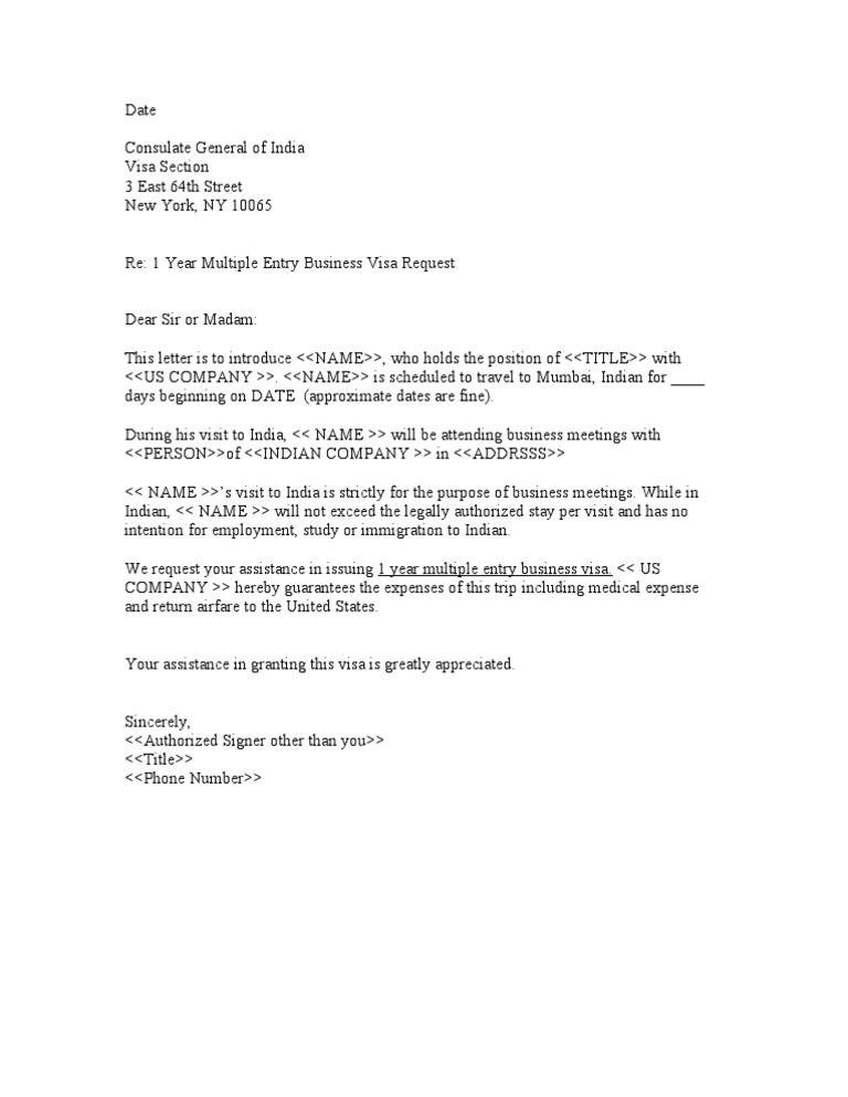 Sample business letter for indian visa altavistaventures Choice Image