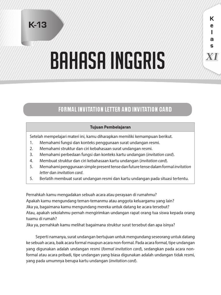 Bahasa Inggris Formal Invitation Letter And Invitation Card