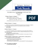 Subiect Admitere CNVA Clasa 5 an 2014