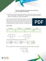 Ejercicio 2 Sistema de Ecuaciones Lineales Solución de Problemas