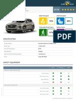 Euroncap 2018 Hyundai Santa Fe Datasheet