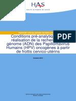 HPV Oncogenes Recherche ADN