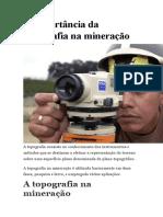 A IMPORTÂNCIA DA TOPOGRAFIA PARA A MINERAÇÃO