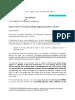 Carta a Sassoli de Puigdemont y Comín