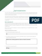 SSO Questionnaire