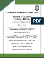 Reporte No 6 - Reporte Acerca Del Cambio de Herramienta de La Fresadora PC MILL 125