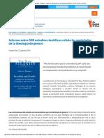 500 Estudios Cientificos Refuta Postulados de Ideologia de Genero