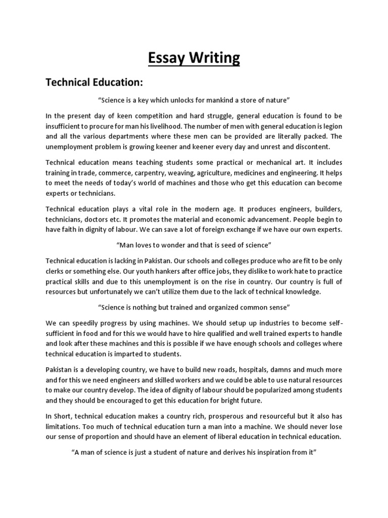 technical essay writing