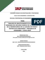 """""""Analisis de Abastecimiento de Agua a La Demanda Del Recurso Hidrico de La Poblacion de La Microcuenca de La Laguna de Piuray – Di"""