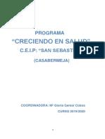 Creciendo en Salud. C.E.I.P. San Sebastián. 2019-2020