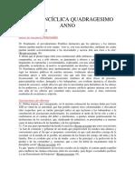 Carta Encíclica Quadragesimo Anno- Primer Documento Original