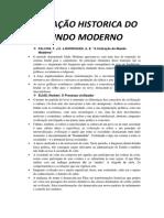 Formação Historica Do Mundo Moderno - Resumão