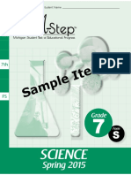 15 M-STEP Sci Gr7 Sample Items Book 485540 7-Grade 7 Science Test