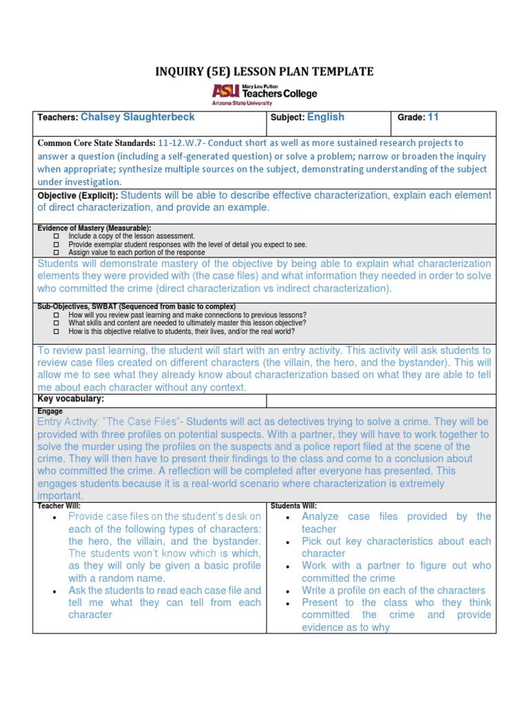 Inquiry 5e Lesson Plan Question Lesson Plan