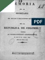 1823. Memoria de la Secretaría de Estado y Relaciones Esteriores