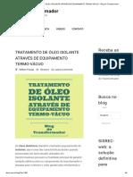 Tratamento de Óleo Isolante Através de Equipamento Termo-Vácuo - Blog Do Transformador