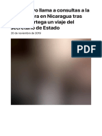 El Ejecutivo Llama a Consultas a La Embajadora en Nicaragua Tras Impedir Ortega