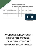 HORARIO DE LIMPIEZA