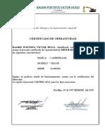 Certificado de Operatividad Mini Rodillo