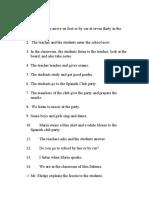 Spanish 1 Chapter 4 Translation Sentences