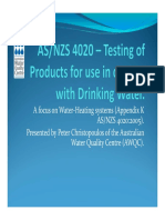 As 4020 Testing of Products for Use in Contact With Drinking Water