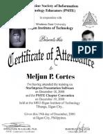 MELJUN CORTES 2000 Certificate StarImpress Presentation Software