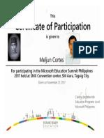 MELJUN CORTES 2017 MICROSOFT Microsoft Education Summit 2017 Nov 21 2017