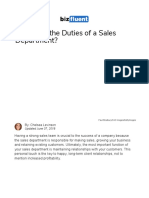 What is the Importance of a Sales Department