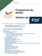 [Public] Programme Détaillé Du MOOC GdP