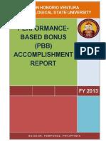 DHVTSU PBB Accomplishment Report FY 2013
