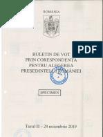 Buletinul pentru votul prin corespondență, turul II