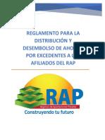 Reglamento para desembolso de excedentes rap Honduras