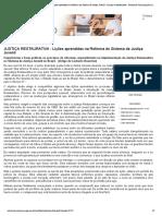 JUSTIÇA RESTAURATIVA - Lições aprendidas na Reforma do Sistema de Justiça Juvenil - Criança e Adolescente - Central de Comunicação Social do MPPR