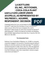 g.r. No. 195297 Coca Cola Bottlers Philippines Inc. Petitioner vs. Iloilo Coca Cola Plant Employees Labor Union Iccpelu as Represented by Wilfredo l. Aguirre Respondent.decision Supreme Court e Library