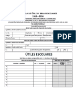 Planilla de Útiles y Becas Escolares Año Escolar 2019-2020