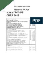 Para Maestros de Obra 2018