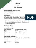 Joyeta Halder CV