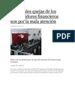 Principales Quejas de Los Consumidores Financieros Son Por La Mala Atención