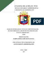 Articulo y Grado de Informalidad y Nivel de Competitividad Del Sector Turismo de La Región de Puno, 14 Agosto
