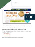 Nobel Prize 2019 Winners List [Www.superpathshala.com]