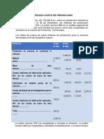 Ejercicio Costo de Produccion -El Telar Sa