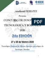 BASES Concurso Innovación en Robótica y Tecnológia, FEBRERO 27 Y 28 DEL 2020
